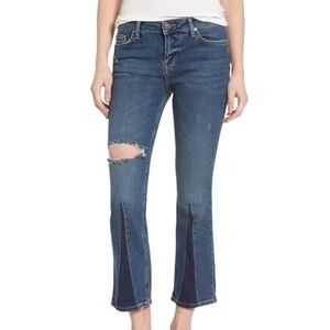 NWT Free People Colorblock Crop Flare Jeans